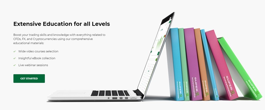 The website promises extensive education