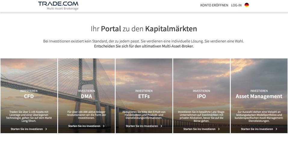 Homepage des Anbieters mit den verschiedenen Finanzprodukten.
