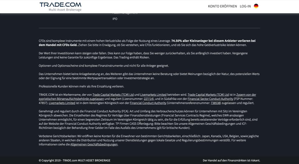 Regulierungsaufklärung und Rechtliches auf der Homepage von Trade.